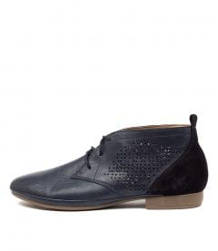OLIEE DF NAVY LEATHER EMBOSS SUEDE