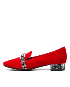 HARRIETHS RED BLACK&WHITE SUEDE PRINCE CH