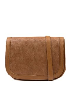 QUEM BAG IL DK TAN EMBOSSED SMOOTH