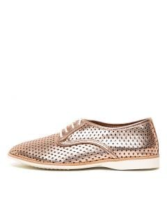 DERBY PUNCH OVERLAY ROSE GOLD NAVY LEATHER