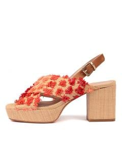 KATI RED MULTI TAN RAFFIA LEATHER